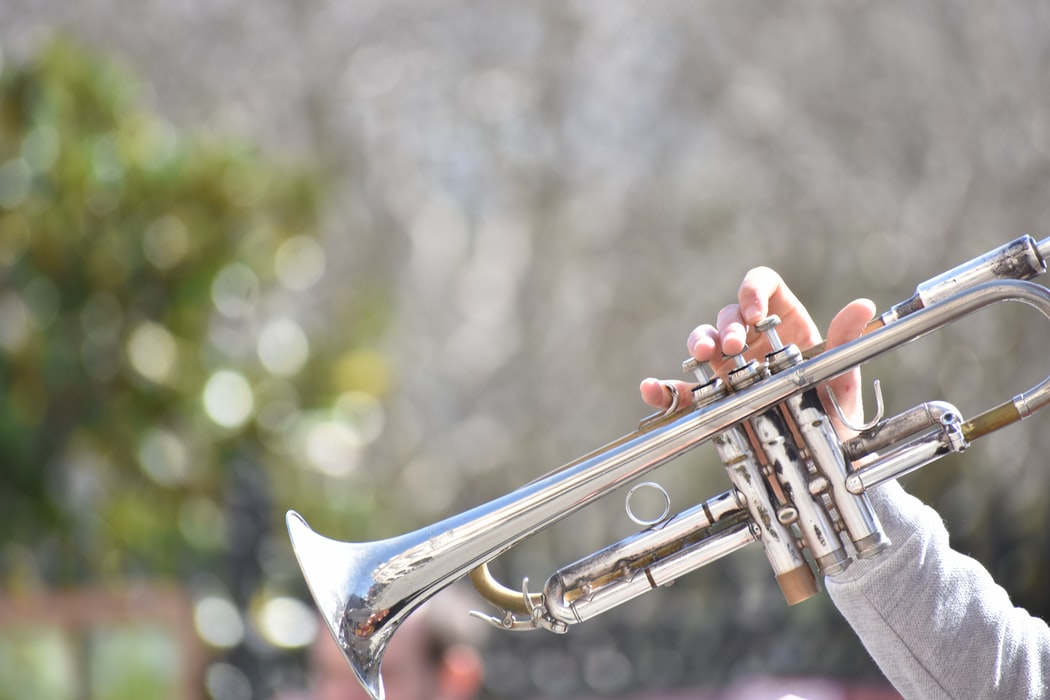 Trumpet being played in the Park